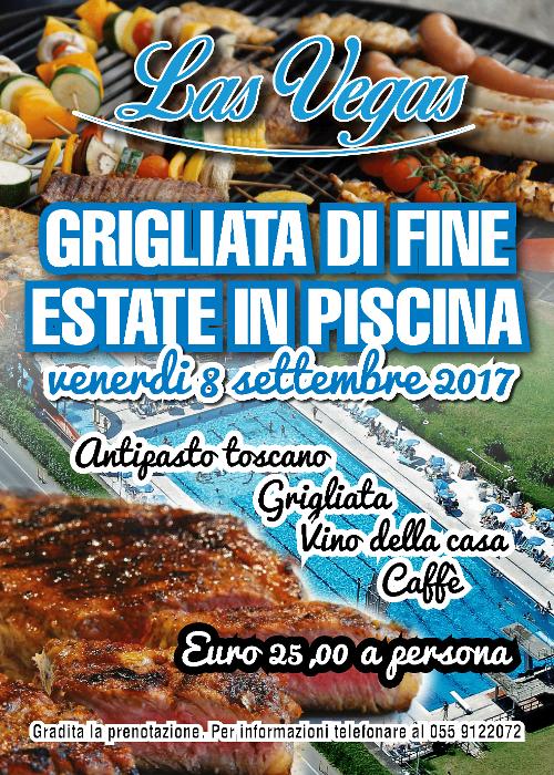 Grigliata di fine estate in piscina: antipasto toscano, grigliata, vino della casa e caffe. 25 € a persona!